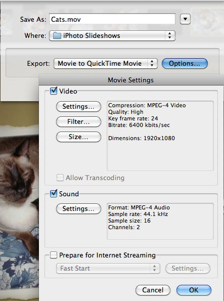 Choose Custom Settings Then QuickTime Export And Finally MPEG 4 Compression For Both Video Audio As Well A Size Of 1920x1080